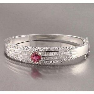 Jewelry - Pink Sapphire & Diamond Baguette Bangle 10 Carats